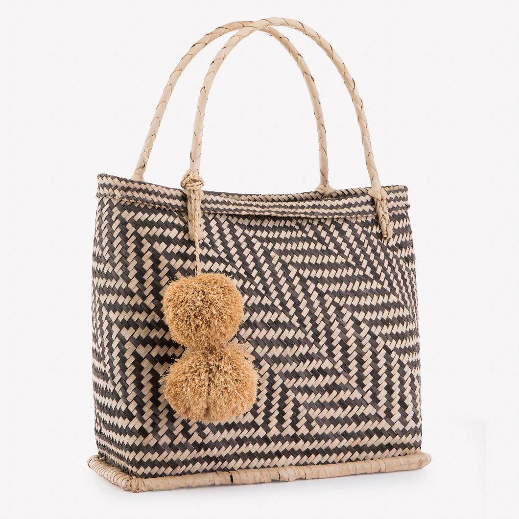 Market Basket with Geometric black and natural pattern and Raffia Pom-poms
