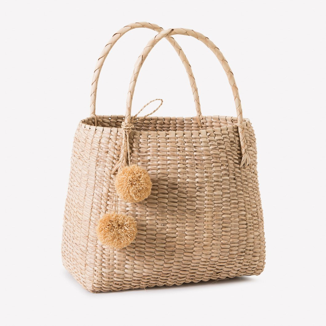 Beach Basket with Natural Raffia Pom-poms